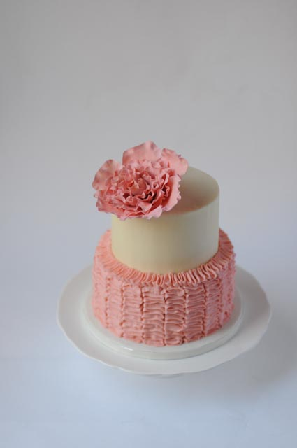 Pink Buttercream Ruffles Shower Cake