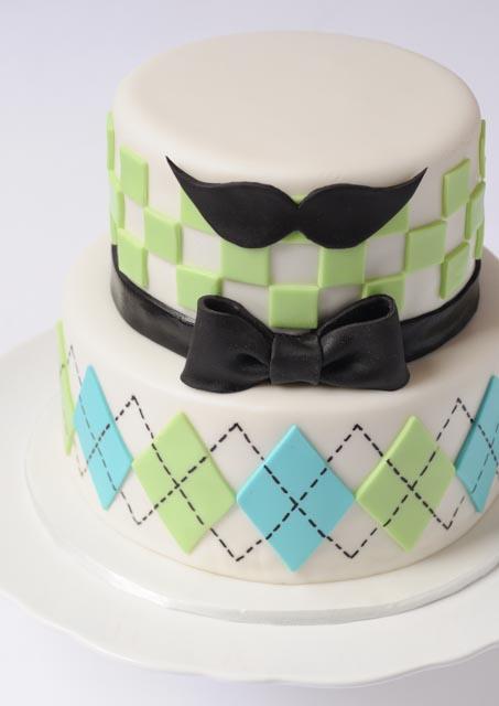 argyle bow tie moustache cake cakes by caralin