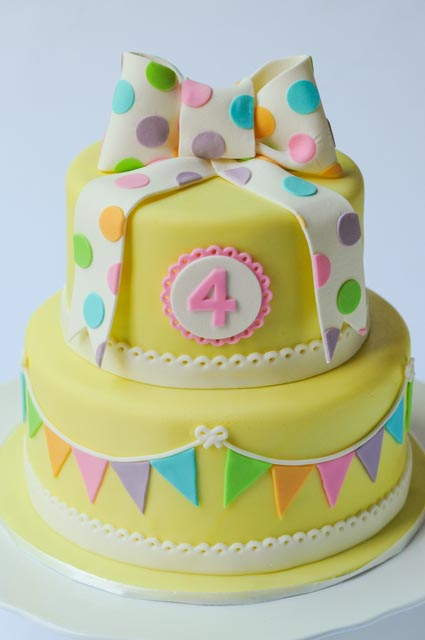 Pretty yellow bunting cake