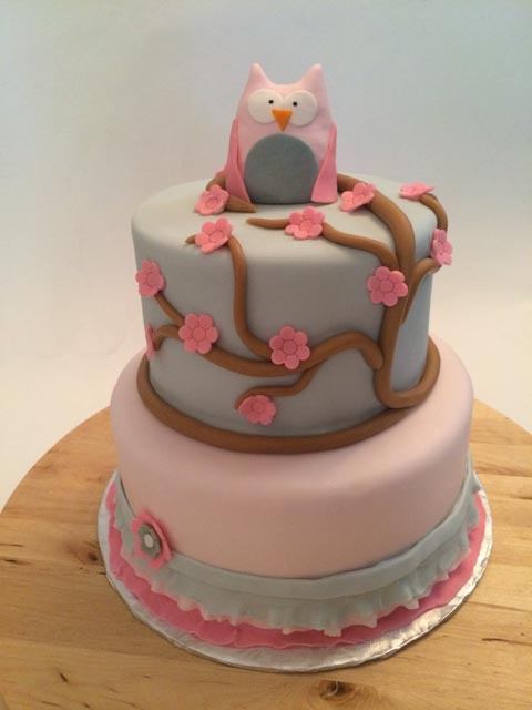 pretty pink owl baby shower cake cakes by caralin