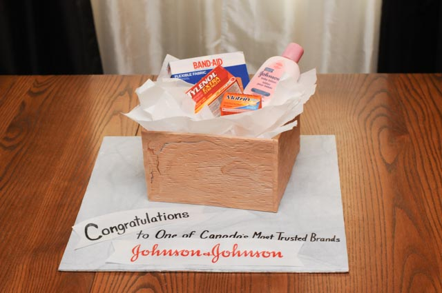 Johnson & Johnson cake with edible products