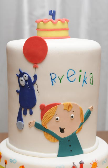 Peg + Cat cake with balloon, cake, and hand-painted farm scenery.