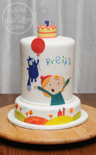 Peg + Cat Cake with hand-painted scenery