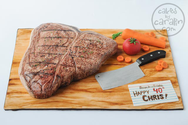 Steak Cake with carrots, tomato and chef's knife